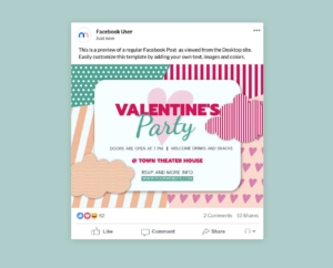 Valentines Day Party Invitation Facebook Post