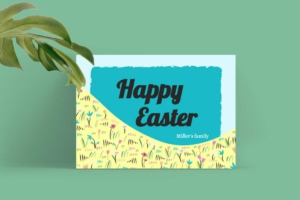 Floral Easter Greeting Card Template