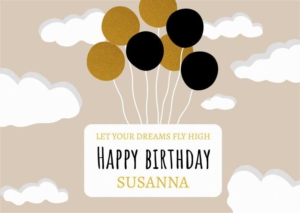 Birthday and Balloons Greeting Card Template