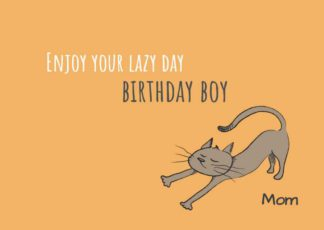 Lazy Cat Birthday Greeting Card Template