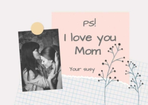 Mothers Day Note Greeting Card Template