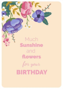 Flowery and sunny Birthday Greeting Card Template