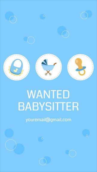 Wanted Babysitter Instagram Story