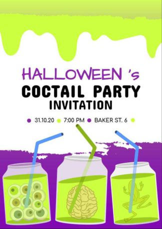 Halloween Invitation Greeting Card Template