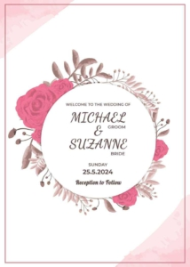 Floral Wedding Invitation Template - Rounded Frame