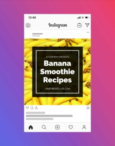Free Banana Smoothie Instagram Post Template