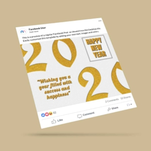 Happy New Year Wish Card Facebook Post Template