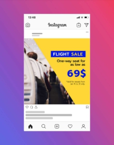 Airplane Travel Tickets Instagram Post Maker