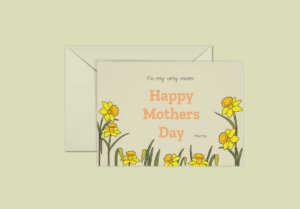 Mothers Day and Daffodils Greeting Card Template