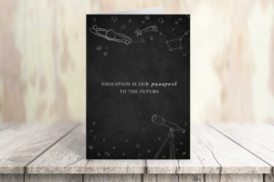 Education and Astronomy Greeting Card Template