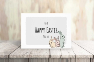 Easter Bunnies Greeting Card Template