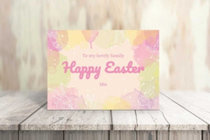 Watercolor Easter Greeting Card Template